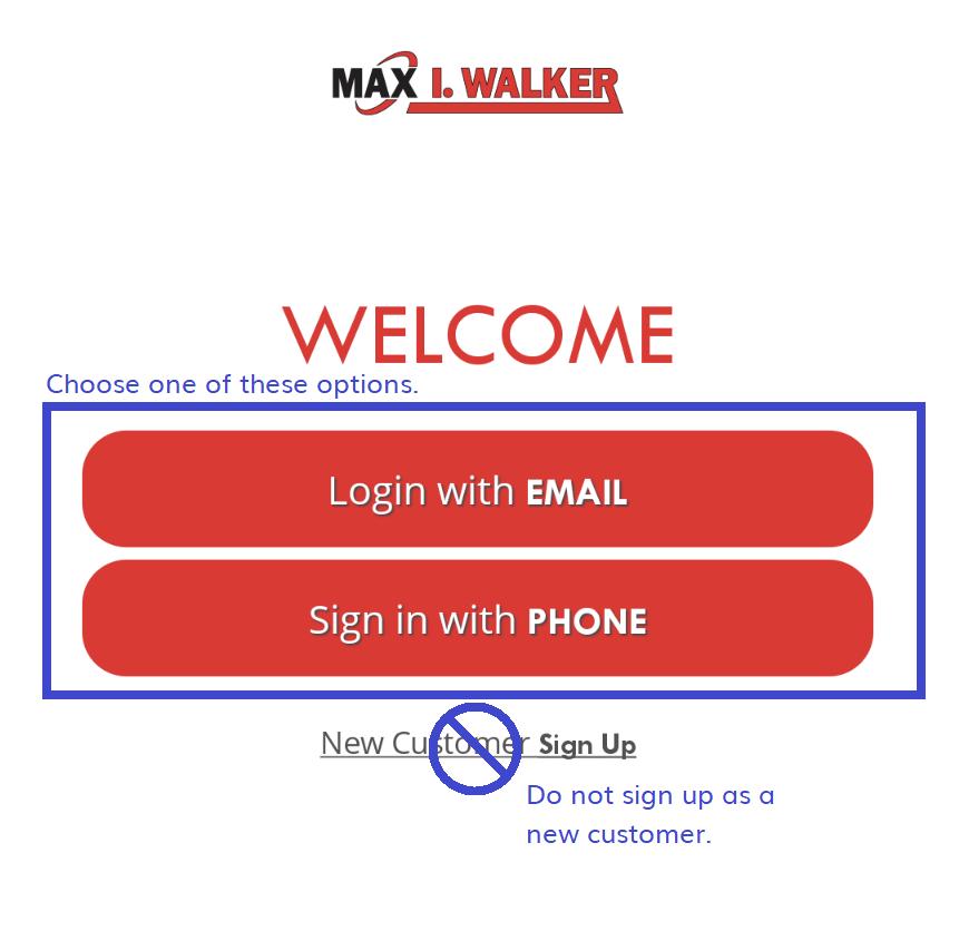 mobile app choose sign in option