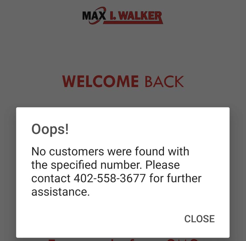 oops mobile app error phone number