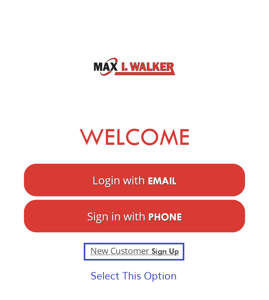 mobile app select new customer sign up